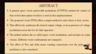 Modeling, Modulation, Control Three-Phase Four-Switch PWM | Final Year Projects 2016 - 2017