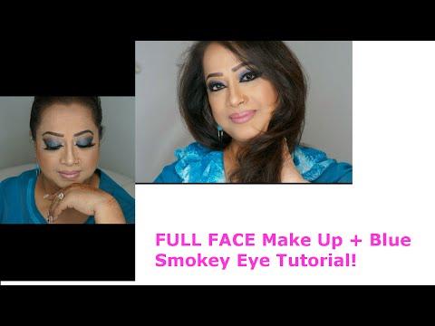 FULL FACE Makeup with Blue Smokey Eye Tutorial! | Glamby Shahida