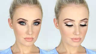NEW YEARS Makeup Tutorial / Sparkly Glam Cut-Crease + LONG Lashes! | Lauren Curtis