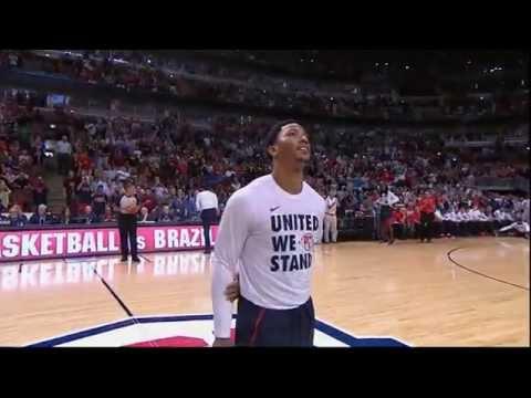 Derrick Rose gets standing ovation in Chicago - USA vs Brazil 2014
