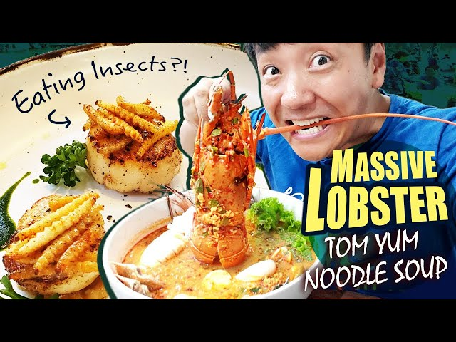 GIANT LOBSTER Tom Yum Noodle Soup, EATING INSECTS & Huamum Night Market in Bangkok Thailand thumbnail