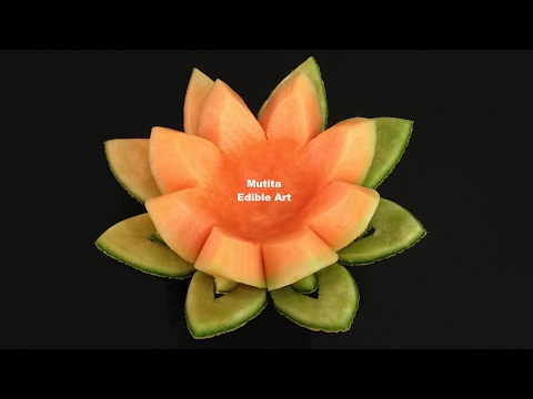 Cantaloupe : Rockmelon Flower - Beginner s Lesson 15 by Mutita Art of Fruit & Vegetable Carving