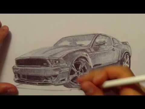 Ford Mustang Drawing with Ballpoint Pen