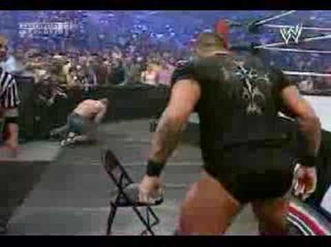 Randy Orton gives Cena an RKO on a steel chair at SNME