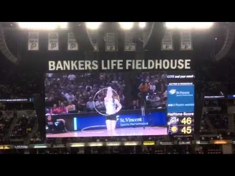 Lauren Resnick hula hoops at an Indiana Pacers game