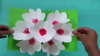 3Д открытка своими руками цветы на 8 марта
