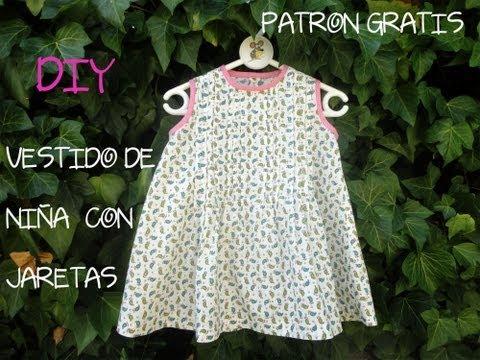 Como hacer un vestido de niña con jaretas, (Patrón gratis): Diy vestido de ni�