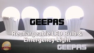 GEEPAS Rechargeable LED Bulb & Emergency Light - Product Demo