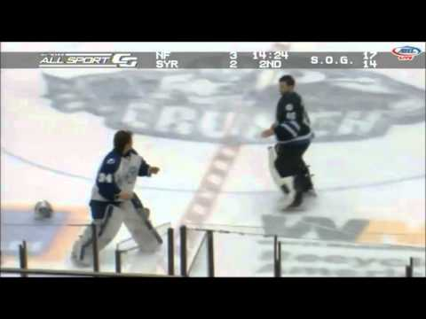 Syracuse Crunch-St. John's Ice Caps line brawl, goalie fight (1/26/2013)