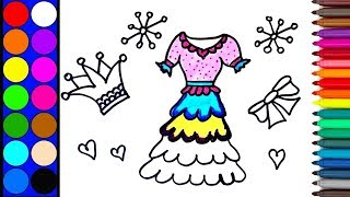 How to Draw a beautiful Princess Dress for Girls | Coloring and drawing  Dress for kids