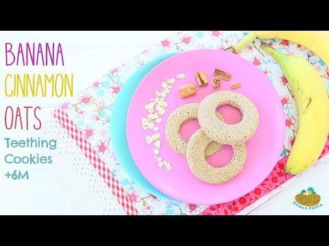 Banana Oat Cinnamon Teething Cookies baby vegan GF recipe +6M