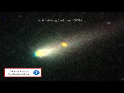 UFO Caught Behind Comet ISON 2013
