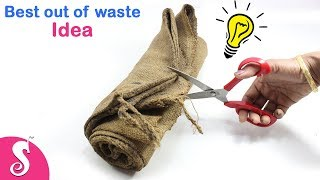 DIY PURSE Idea | Best out of Waste Old Wheat Bags,Burlap,Hesan Cloth Craft | Sonali Creations 180