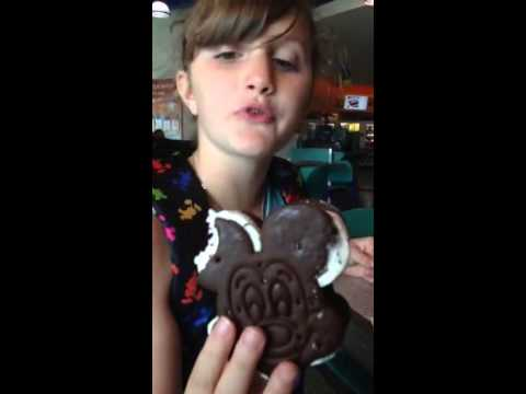 Jaz eats a Mickey ice cream sandwich