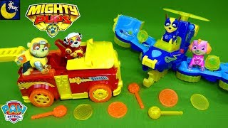 Lots of Paw Patrol Toys Mighty Pups Flip and Fly Vehicles Set Mashems Teenies Surprise Toys Video