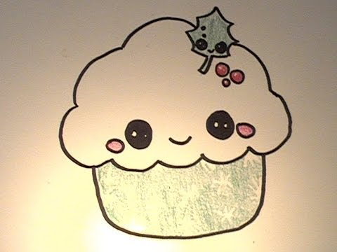 Small Cupcakes Drawings How to Draw a Kawaii Christmas