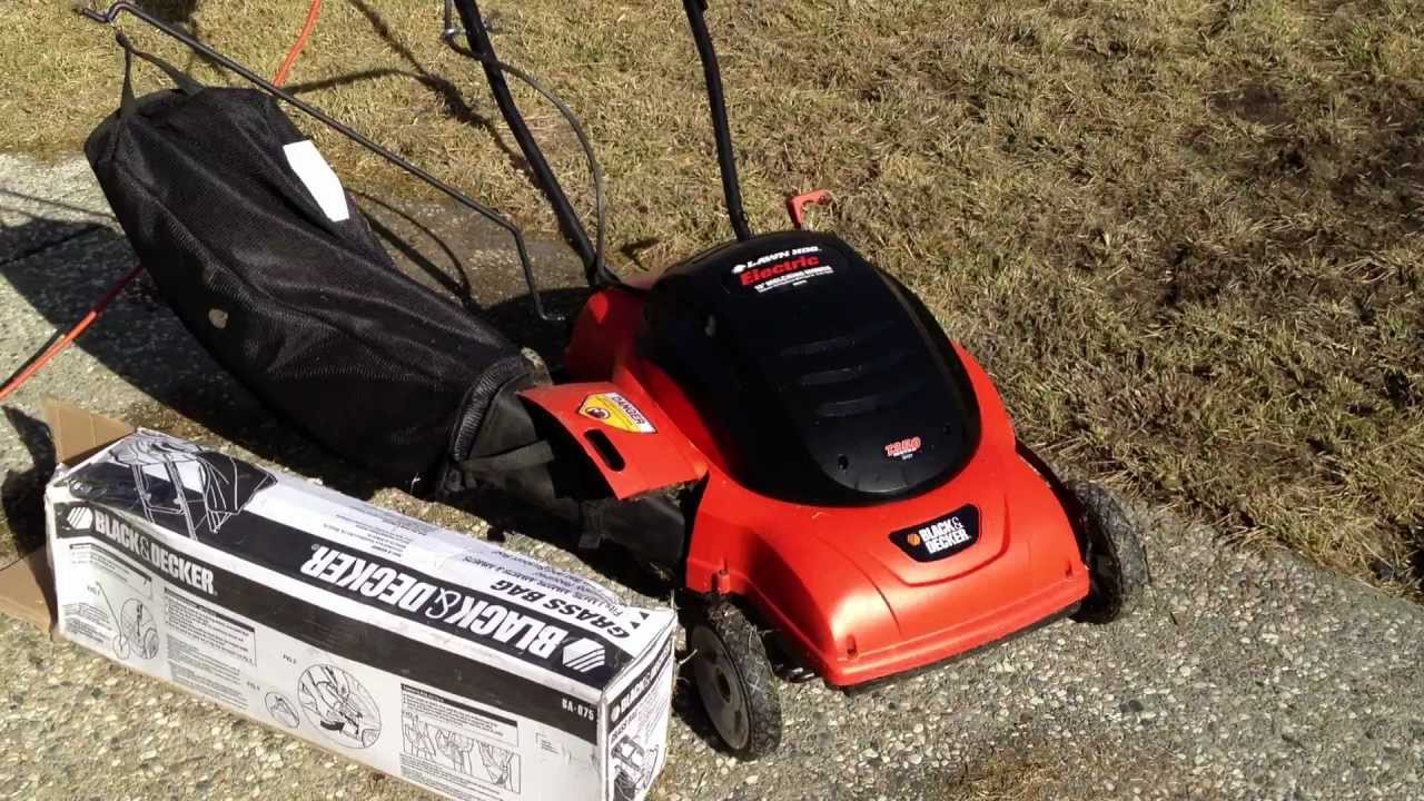 Used Black Amp Decker 18 Quot Electric Mower Side Bag Youtube