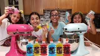 Making 3 Color Slime in a Blender Challenge with Sisiters Fun Tube