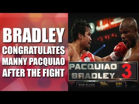 MANNY PACQUIAO VS TIMOTHY BRADLEY 3  Bradley knockdown twice Congratulates Manny Pacquaio