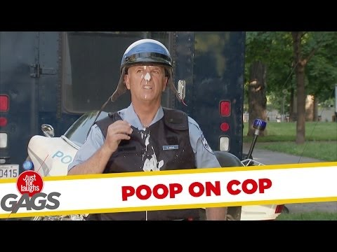 Seagull Poops on Cop Prank