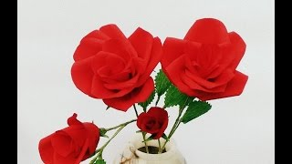How to make Paper flower Rose for Valentine Day (Flower # 2)