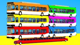 COLOR BUS on Long Car & Spiderman Cartoon for kids with Cars Superheroes for babies!