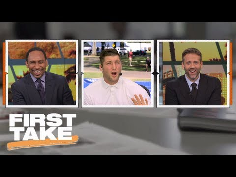 Tim Tebow tells Stephen A. Smith to 'calm down' during college football preview | First Take | ESPN