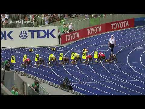 Usain Bolt beats champion Tyson Gay and sets a new world record for the 100 metres sprint at the final of the IAAF World Championship on 2009, in Berlin, Ger...