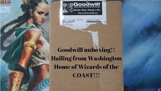 Unboxing a box of Magic the Gathering cards from Goodwill Washington!