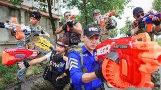 Game Nerf War : Winter Warriors Nerf Guns   Fight Attack Criminal Group With Girl Mega