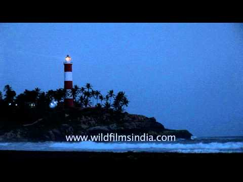 Evening view of Light-house at Kovalam Beach