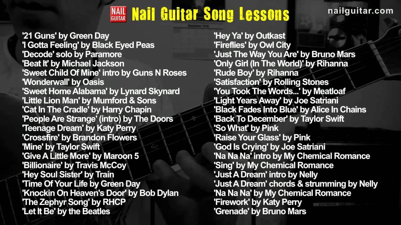 List of Nail Guitar Song Lessons - YouTube