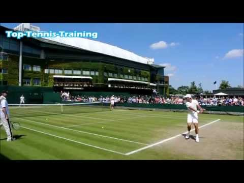 Novak Djokovic Training-Court Level View @ Wimbledon 2014