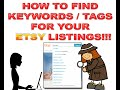 Etsy SEO - How To Find Keywords & Tags For Etsy Listings!!!
