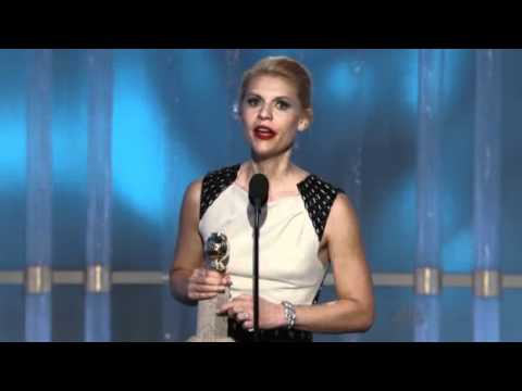 Claire Danes winning a Golden Globe 2012 HQ
