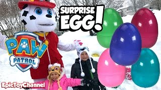SURPRISE EGGS! Paw Patrol Toys in Surprise Eggs Buried in Snow + Paw Patrol Marshall In Real Life