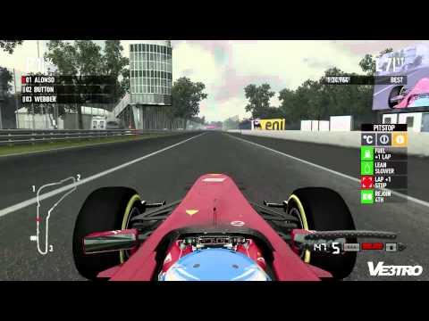 F1 2011 Ferrari Alonso Monza Gameplay (HD 1080p)