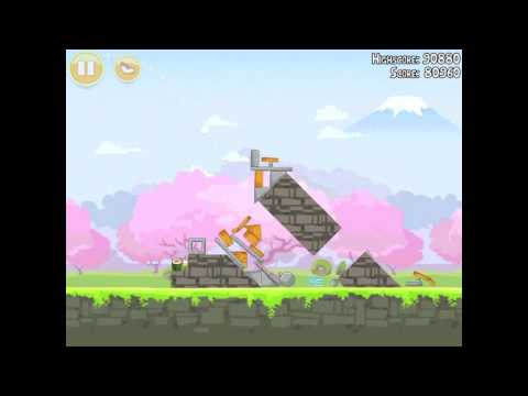 Angry Birds Seasons Cherry Blossom 1-2 Walkthrough 2012 3 Star