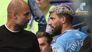 Tremenda bronca entre Pep Guardiola y Sergio Agero tras sustituir al argentino Telemundo Deportes