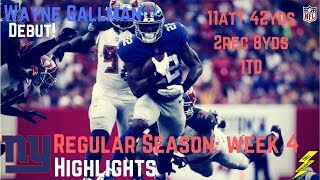 Wayne Gallman Week 4 Regular Season Highlights Debut! | 10/01/2017