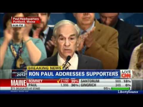 Ron Paul speech after Maine Caucus results CNN 2/11/12