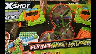 X-Shot Flying Bug Attack! Shoot the Flying Bugs before they land! | Beau's Toy Farm