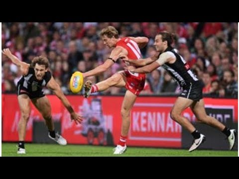 Callum Mills of Sydney Swans came out in the season after breaking their legs in an improvised Am...