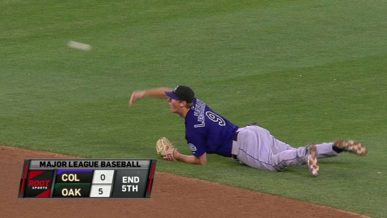 COL@OAK: LeMahieu makes diving stop, flips for force