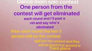 Dance moms solo contest(comment if your in and which character are you)