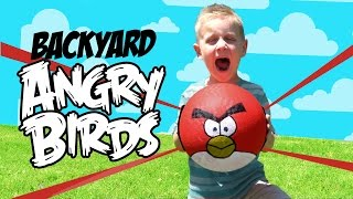 Real Life ANGRY BIRDS Game & DIY Backyard Challenge - Inspired by the Angry Birds Movie by KidCity
