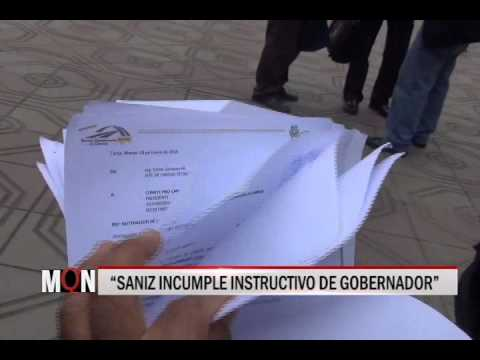 "24/04/2015 18:55 ""SANIZ INCUMPLE INSTRUCTIVO DE GOBERNADOR"""