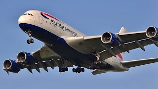 138 planes in 1 hour, London Heathrow LHR 🇬🇧 Plane spotting; Heavy landings, touch down, take offs