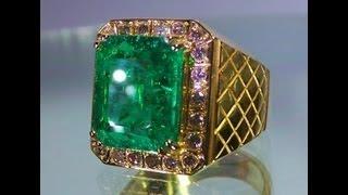 Rare Unheated Emerald Ring 6.30 cts, Yellow Gold 22K & Yellow Diamonds