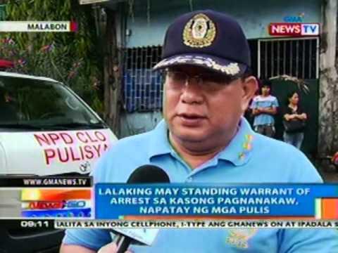 NTG: Lalaking may standing warrant of arrest, napatay ng mga Pulis sa Malabon (033012)
